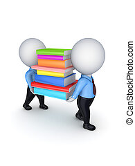 3d small people with colorful books.