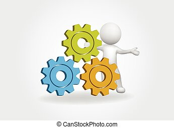 3d Small People with gears vector design