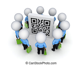 3d small people with green bags around QR code.Isolated on...