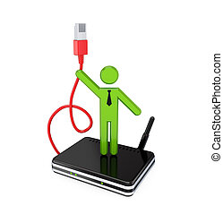 3d small people with patchcord. 3D rendered. Isolated on...
