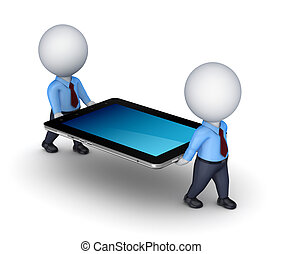 3d small people with tablet PC.