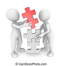 3d small people working together with puzzle
