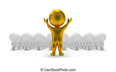 3d small people worshipping to a gold idol. 3d image. Isolated white background.