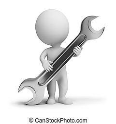 3d small people with a wrench in hands. 3d image. Isolated white background.