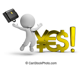 """3d small person - businessman jumping for joy beside of world currencies """"yes"""". 3d image. White background."""