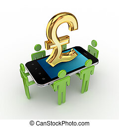 3d small people,mobile phone and pound sterling.