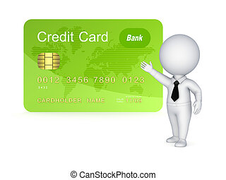 3d small person and credit card.