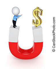 3d small person and dollar sign on a horseshoe.Isolated on...