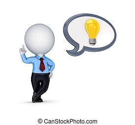 3d small person and idea symbol.