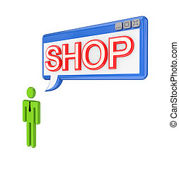 3d small person and OS window with word SHOP.