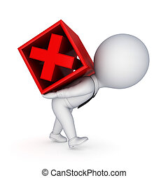 3d small person and red cross mark. Isolated on white background.3d rendered.