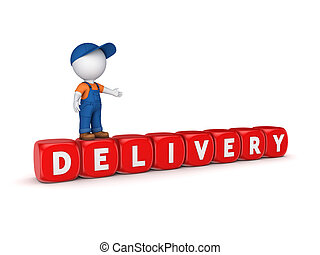 3d small person and word DELIVERY.