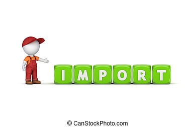 3d small person and word IMPORT.