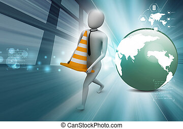3d small person carrying the traffic cone