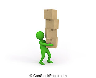 3d small person holding some heavy stack of cardboard boxes