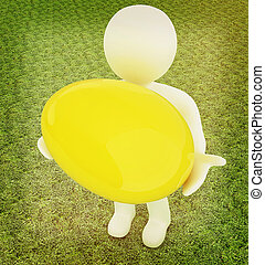 3d small person holds the big Easter egg in a hand. 3d image. On green grass. 3D illustration. Vintage style.