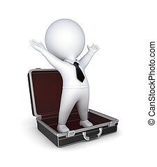 3d small person in opened suitcase.