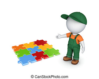 3d small person in workwear and colorful puzzles..