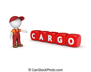 3d small person in workwear and word CARGO.