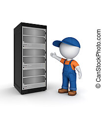 3d small person in workwear near server. Isolated on white.