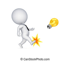 3d small person kicking a yellow lamp. Isolated on white background.