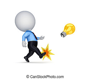 3d small person kicking an idea symbol.
