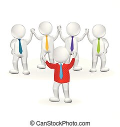 3d small person leader teamwork