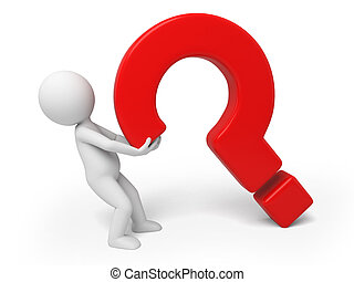 question - 3d small person lift a large question mark. 3d...