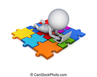 3d small person lying on a puzzles .