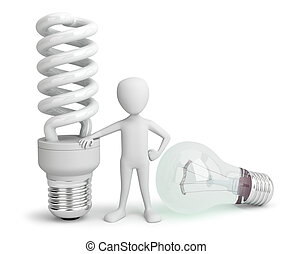 3d small person - normal and saver Lightbulb.