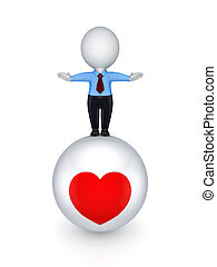 3d small person on a ball with a heart symbol.
