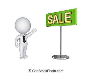 3d small person pointing on a bunner SALE.Isolated on white...