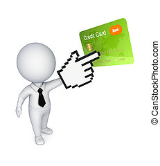 3d small person pointing to credit card.