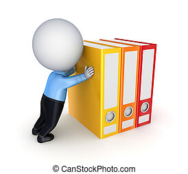 3d small person pushing a colorful folders. Isolated on white background.