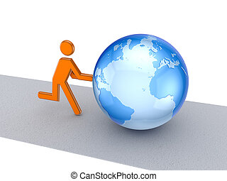 3d small person pushing a globe.