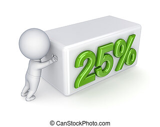 "3d small person pushing a word ""25%."""