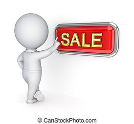 3d small person pushing SALE button.