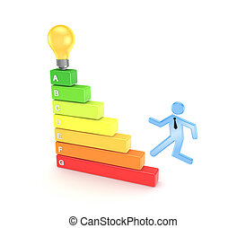 3d small person running on colorful stairs.