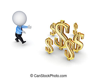 3d small person running to a dollar signs. Isolated on white background.