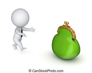 3d small person running to a green purse.