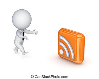 3d small person running to a RSS symbol.