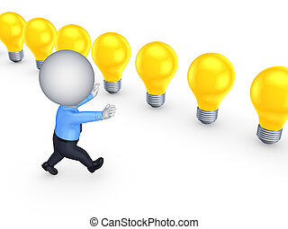 3d small person running to colorful lamps.