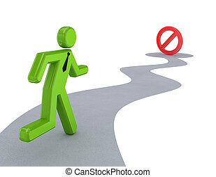 3d small person running to STOP sign.