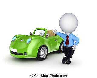 3d small person selling the car.Isolated on white...