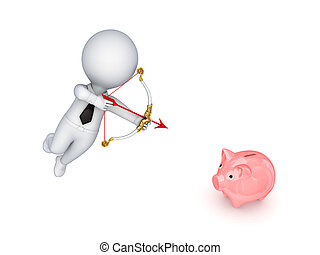 3d small person shooting a pink piggy bank.Isolated on white...