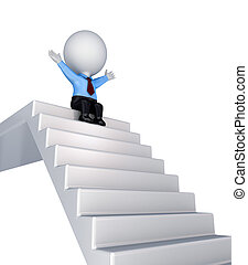 3d small person sitting on a stairs.Isolated on white...