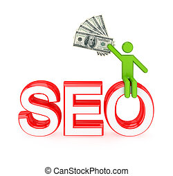 3d small person sitting on a word SEO.