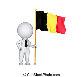 3d small person with a Belgium flag in a hand. Isolated on white background.