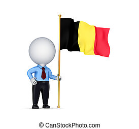 3d small person with a Belgium flag in a hand.