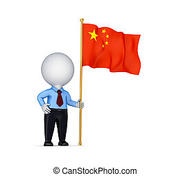 3d small person with a chinese flag.